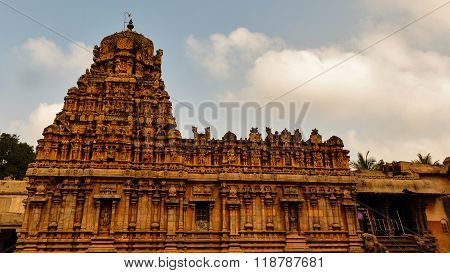 Thanjavur temple captured against cloudy sky background