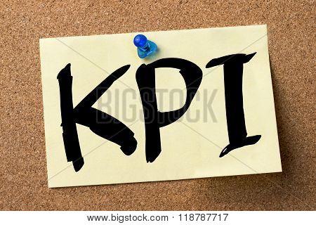 Kpi - Adhesive Label Pinned On Bulletin Board