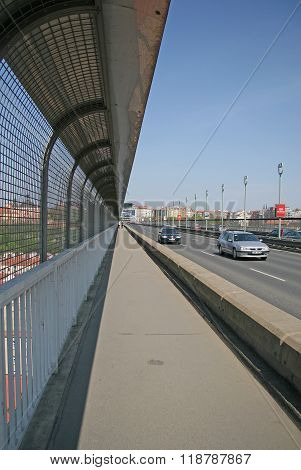 Prague, Czech Republic - April 25, 2010: Nusle Bridge In Prague - Concrete Viaduct In Prague, Passin