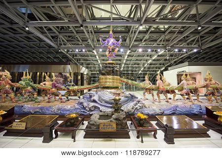 BANGKOK THAILAND - NOVEMBER 07 2015: Traditional Thai god monuments decorated inside Suvarnabhumi International Airport. Here is one of two international airports in Bangkok.