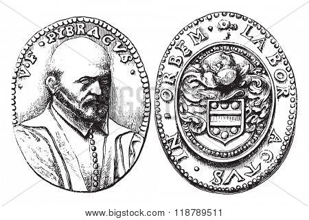 Medal of Pibrac, the Cabinet of medals from the National Library, vintage engraved illustration. Magasin Pittoresque 1873.