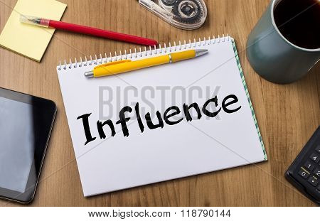 Influence - Note Pad With Text