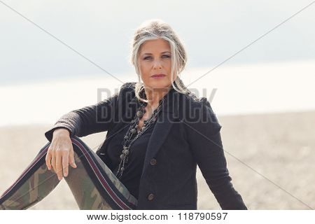 Fifty year old woman in outdoors
