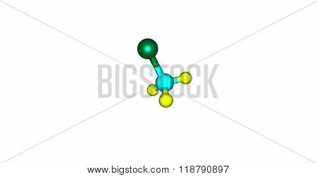Chloromethane molecular structure isolated on white
