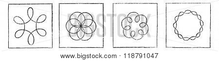 Different figures obtained with the kaleidophone Wheatstone, vintage engraved illustration. Magasin Pittoresque 1876.