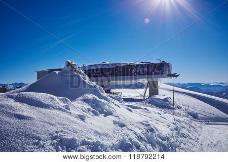 Winter mountains panorama with ski slopes. Caucasus
