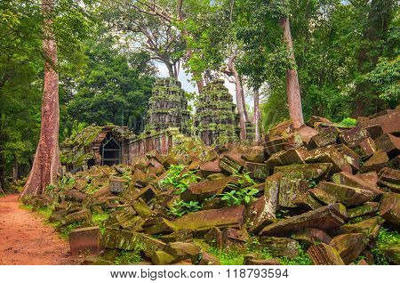 Ta Prohm, Part Of Ancient  Khmer Temple Complex In Jungle.
