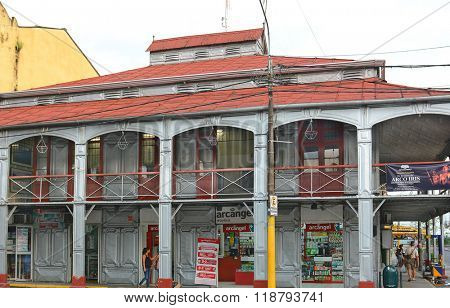 IQUITOS, PERU - OCTOBER 17, 2015: The Iron House. Said to have been designed by Gustave Eiffel and brought in pieces through the jungle to Iquitos in 1890.