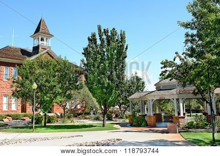ST. GEORGE, UTAH - AUGUST 15, 2015: Woodward School and Gazebo in the historic district of St. George, Utah.
