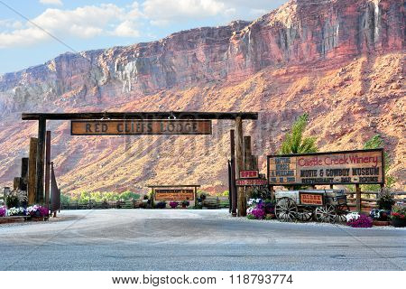 MOAB, UTAH - AUGUST, 17, 2015: Red Cliffs Lodge and Castle Creek Winery Entrance. A Popular destination on HWY 128 along the Colorado River.