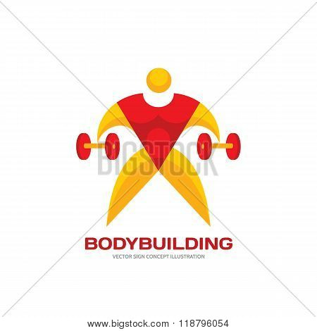 Body-building - vector creative logo illustration for design projects. Human character logo sign.