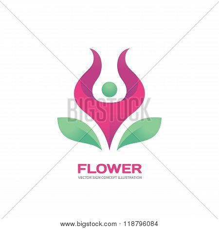 Flower - vector logo concept illustration. Pink flower logo sign. Human character logo. Yoga logo..