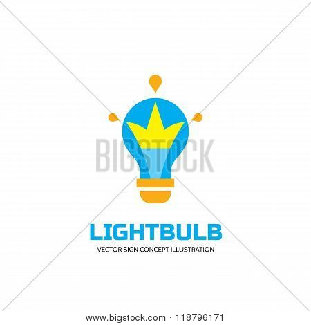 Lightbulb - vector logo concept illustration in flat style design. Lamp logo sign. Idea logo sign.