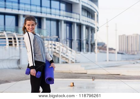Sportive Woman Working Out In The City