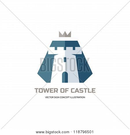 Tower of castle - vector logo concept illustration in flat style design. Abstract tower of castle.