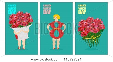 8 March Set Of Postcards. International Womens Day. Woman And Basket Of Flowers. Holiday Gift Bouque