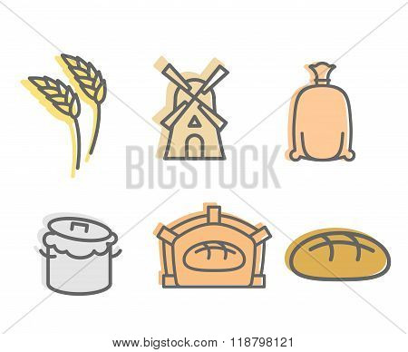 Bread Baking Set Of Icons. Flat Signs Production Of Bread. Wheatears And A Windmill.  Bag With  Flou
