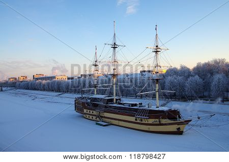 Veliky Novgorod, Russia - January, 2016:  Frigate Flagship Restaurant Near The Embankment In Winter