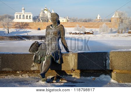 Veliky Novgorod, Russia - January, 2016:  Sculpture Of Tired Tourist Girl -focus At The Girl On The