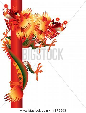 Two-headed Chinese dragon on white background
