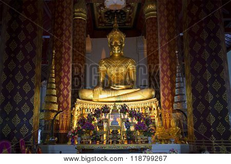 Sculpture of a seated Buddha in Wat Naphrameru. Ayuthaya, Thailand