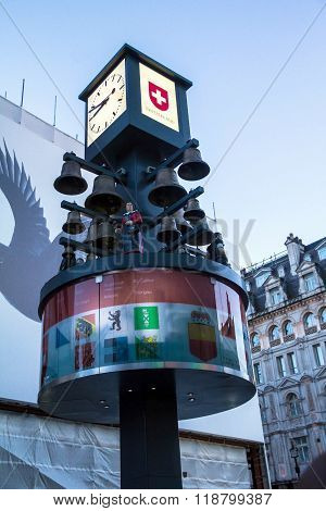 Swiss Chime At Leicester Square  In London. It Was A Gift From Switzerland For Their 400Th Birthday
