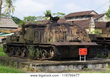 American engineering tank in the city Museum of Hue. Vietnam