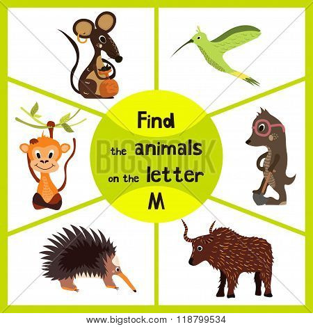 Funny Learning Maze Game, Find All 3 Cute Wild Animals With The Letter M, Field Mouse, Macaque Monke