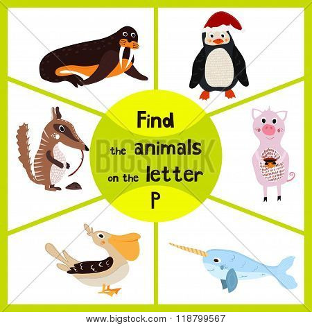 Funny Learning Maze Game, Find All 3 Cute Wild Animals With The Letter P, Arctic Penguin, Sea Bird P