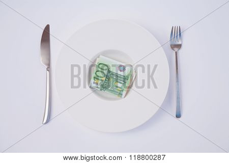 Dish With Euro Banknotes
