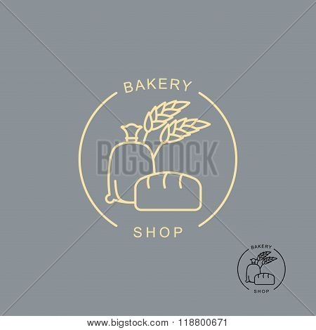 Bakery Shop Logo. Sack Of Flour And Bread. Spikelets Of Wheat To Produce Flour. Bread Shop Logo