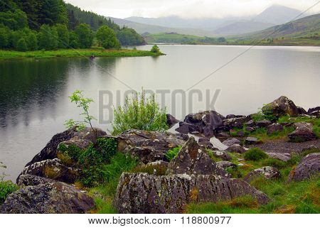 View Of The Mountain Valley In Snowdonia National Park In Wales