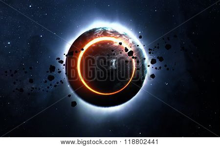 Abstract scientific background - glowing planet Earth in space, solar eclipse, nebula and stars. Ele