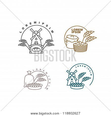 Bakery Logo. Bakery Production Logo. Shop For Sale Of Fresh Bread. Sign For The Bakery. Pancakes And