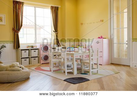 Children's playroom decorated for girls