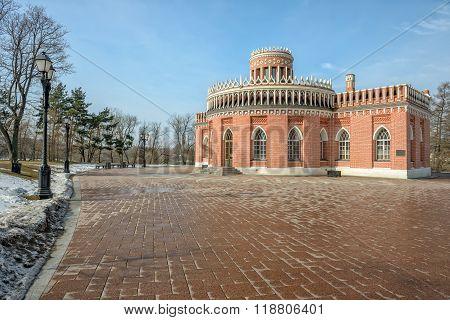 Brick ornate pavilion in Tsaritsino park. Moscow. Russia
