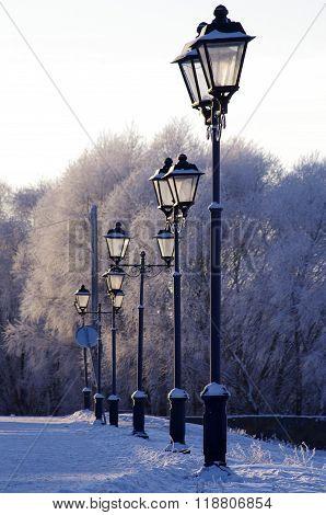 Lantern On The Promenade In Veliky Novgorod, Russia