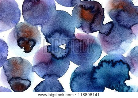 Abstract seamless watercolour aquarelle hand drawn wash drawing arty grunge creative set of circle splatters blots on white background square picture