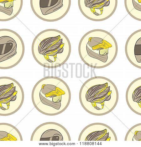 Motorcycle helmets in circles