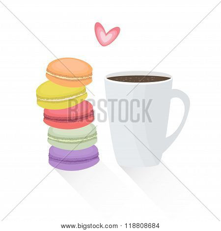 Vector illustration of french cookie macaroons with cup of coffee. Tasty breakfast with macarons in flat style