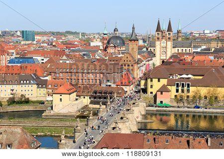 Historic city of Wurzburg with bridge Alte Mainbrucke, Germany