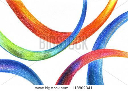 Abstract Multicolored Pencil Drawing