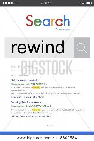 Rewind Record Rerun Reset Restart Round Control Concept