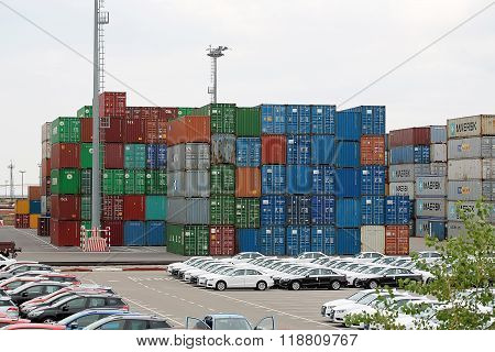 Many Stacked Cargo Containers