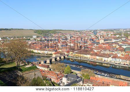 Historic city of Wurzburg with bridge Alte Mainbrucke Germany