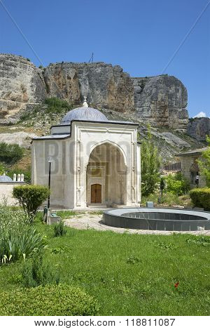View of the mausoleum-the tomb of the first Crimean khans in Salacia. Bakhchisaray, C