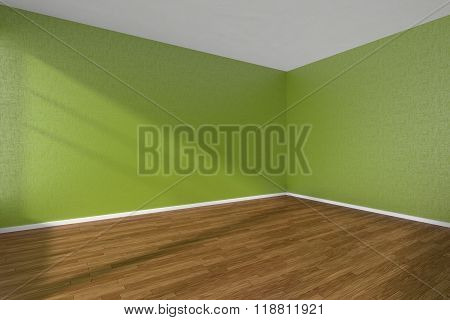 Empty Room With Dark Parquet Floor And Textured Green Walls