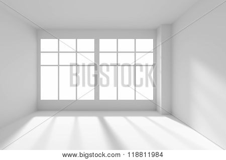 White Empty Room With Windows And Sunlight Front View