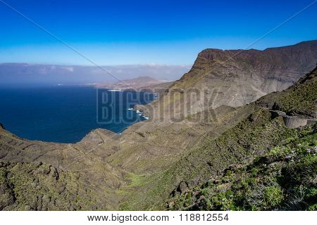 Beautiful panoramic view of Grand Canary (Gran Canaria) coastline landscape, Spain
