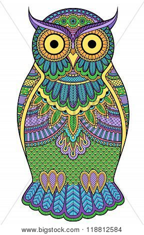 Graphic Ornate Multicolour Owl